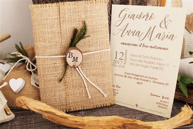 Partecipazioni Matrimonio In Juta : Ecofattoart shop on line